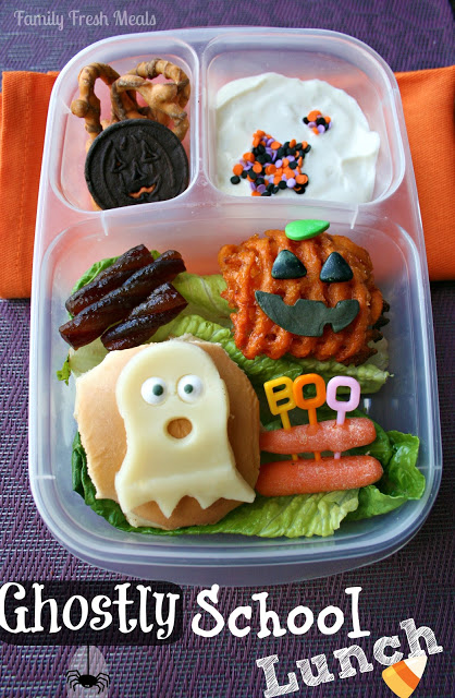 Top down image of halloween themed food in an Easy Lunchbox container