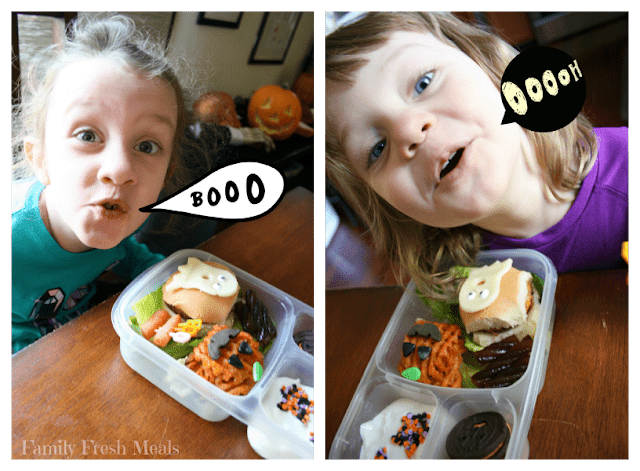 2 different images of 2 different children sitting at a table with halloween food theme lunched box, with speech bubble coming from their mouths saying  Booo