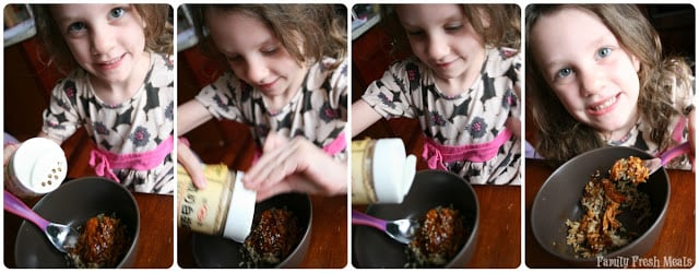 4 images showing a child shaking sesame seeds over sesame chicken