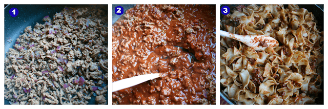 1st image is of beef browning in pan, 2nd image is of red sauce being stirred into beef and last image show noodles being added to pan
