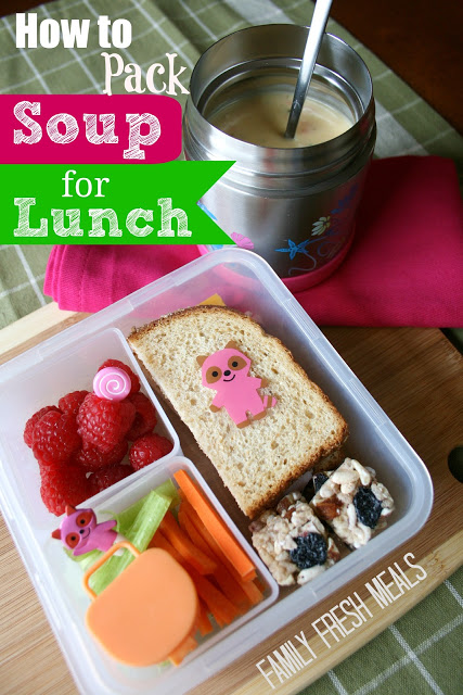 top down image of lunchbox and thermos with soup