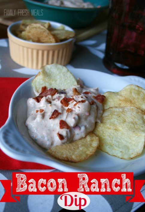 bacon ranch dip on a plate with potato chips