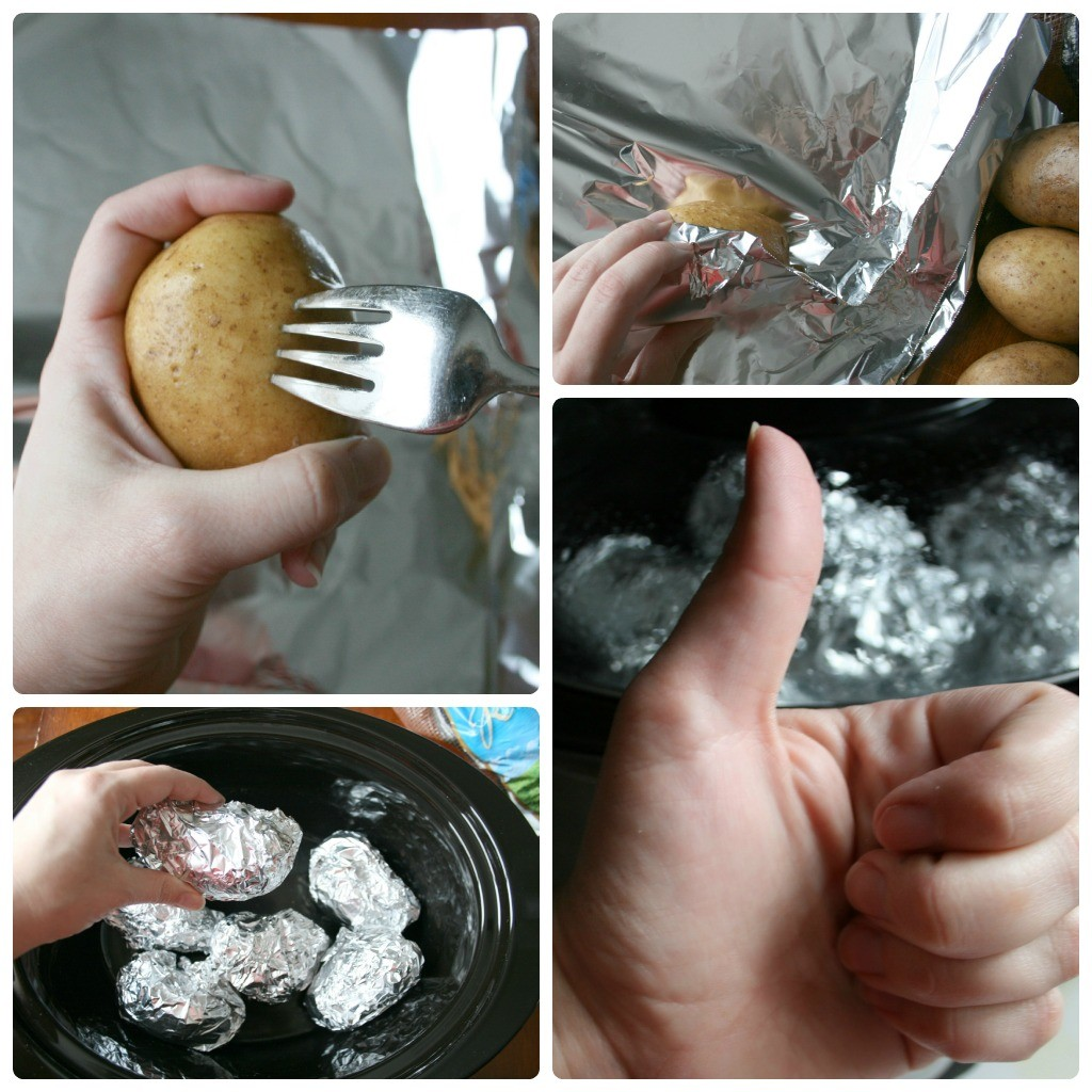 Crockpot Baked Potato Steps