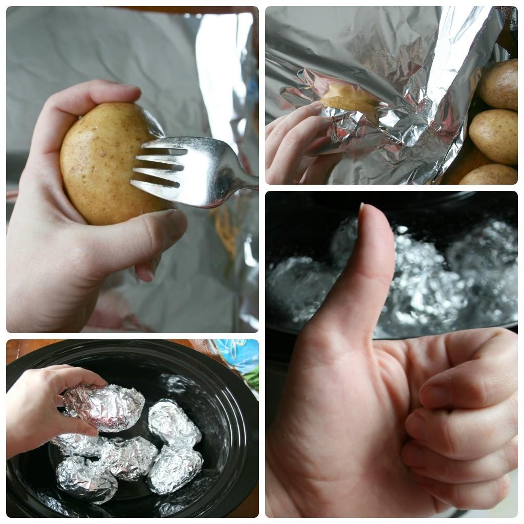 Crockpot Baked Potato Steps