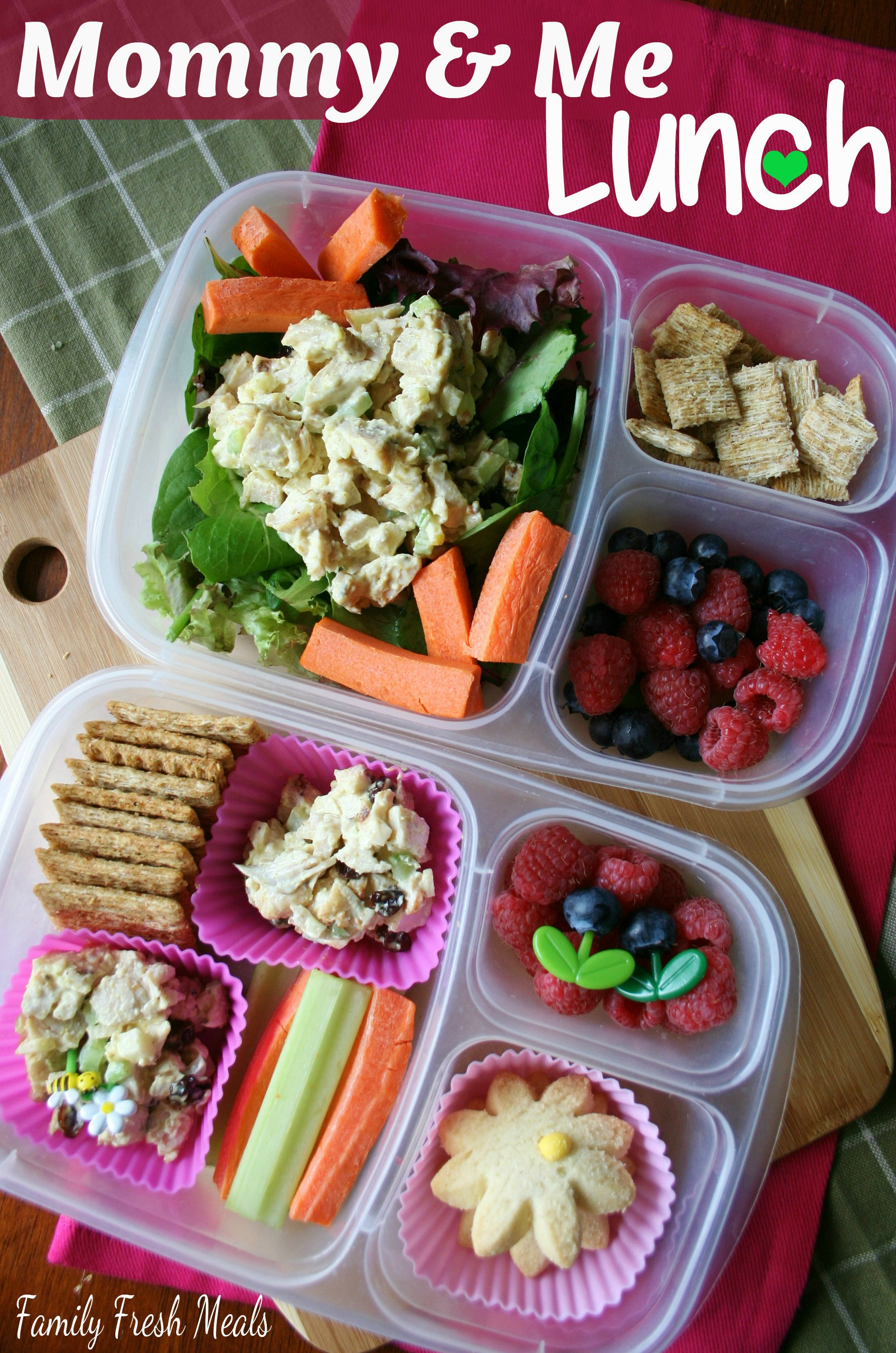 Top down image of 2 lunchboxes with curry chicken salad via @familyfresh