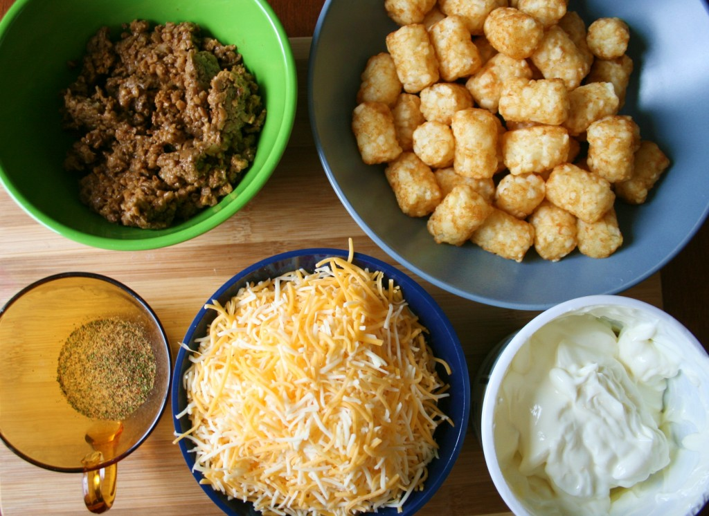 tater tot dip ingredients - tater tots, cooked ground beef, shredded cheese, sour cream, and seasoning.