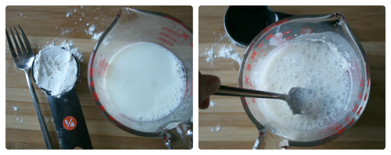 Mixing flour mixture in a measuring cup