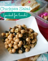 Chickpea salad packed for lunch