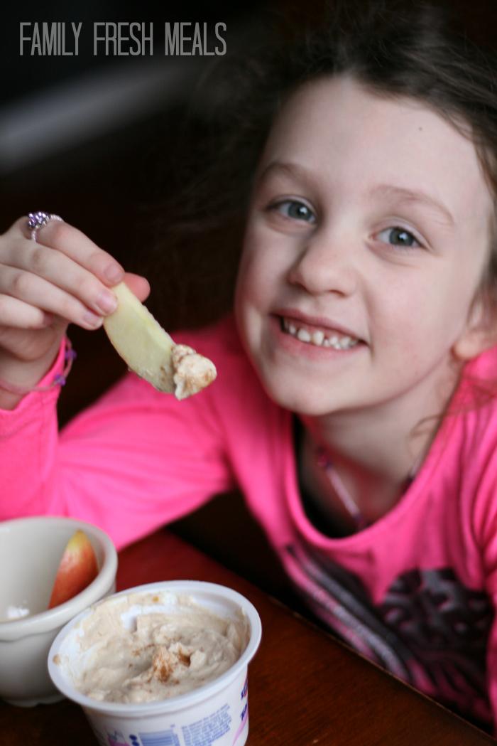 Enjoying Greek yogurt peanut butter dip