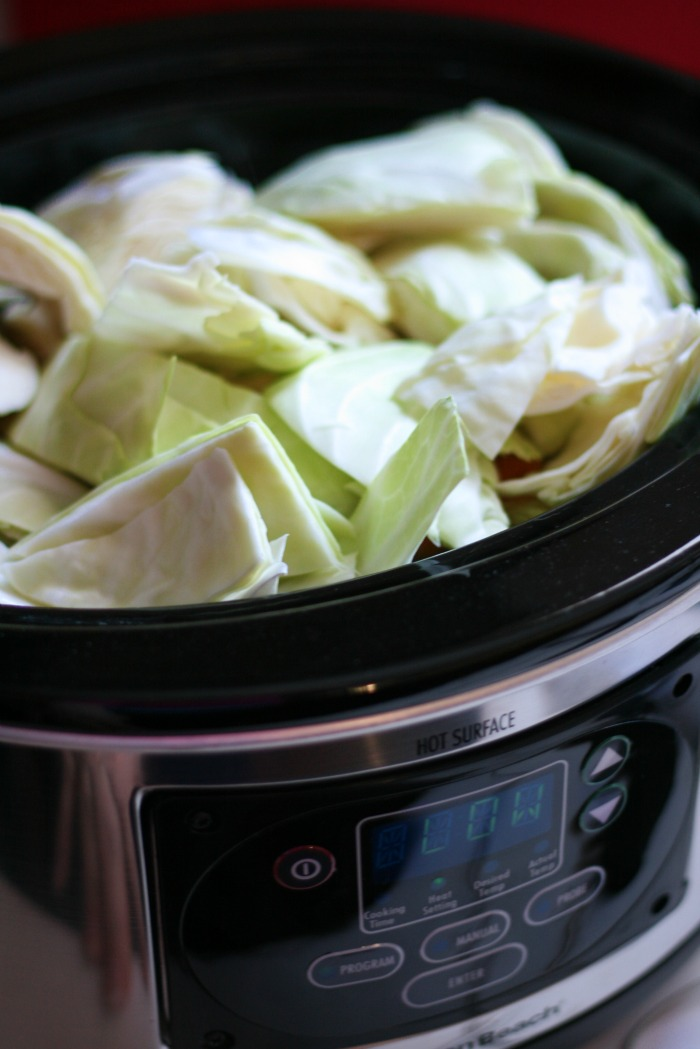Crockpot Corned Beef and Cabbage  - Cabbage added to slow cooker