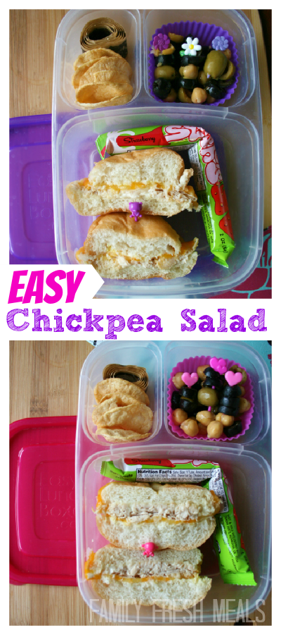This protein packed salad is easy AND healthy.  What more could you ask for? Chickpea Salad #Recipe - FamilyFreshMeals.com
