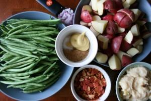 Creamy Crockpot Green Beans, Potatoes & Ham ingredients