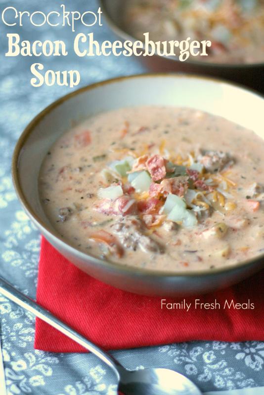 Crockpot Bacon Cheeseburger Soup - FamilyFreshMeals
