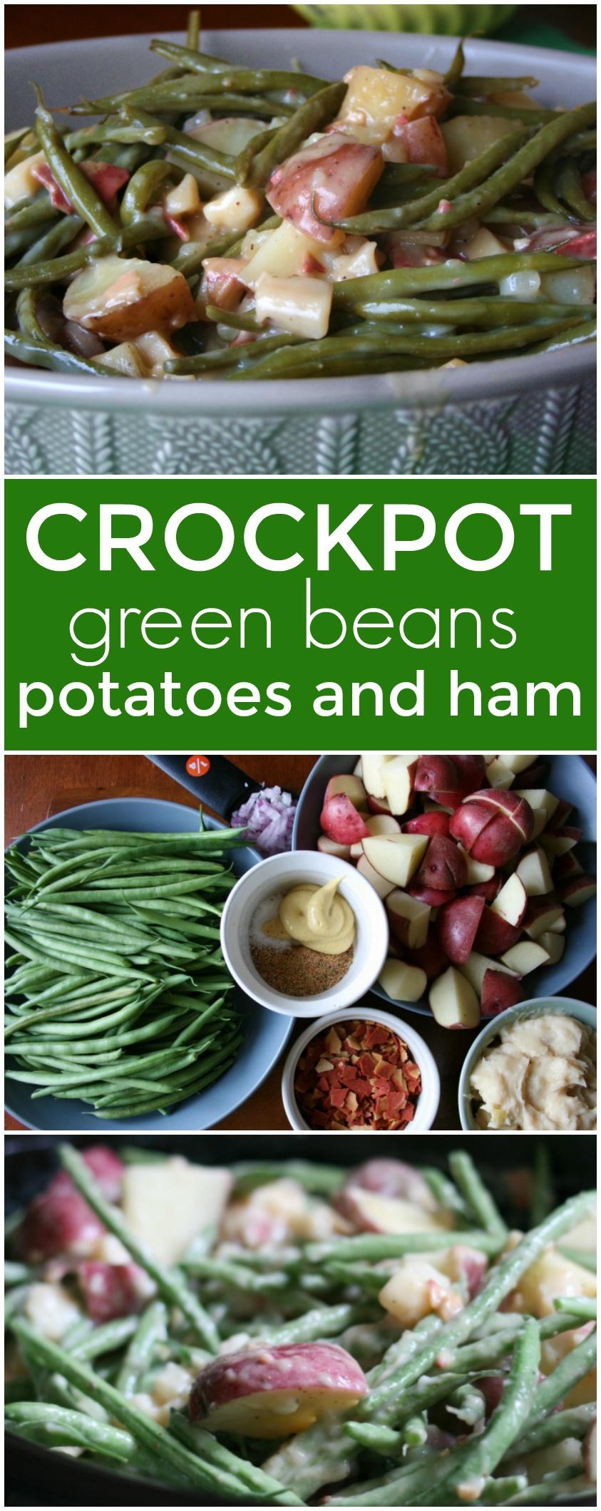 Crockpot Green Beans Potatoes and Ham via @familyfresh