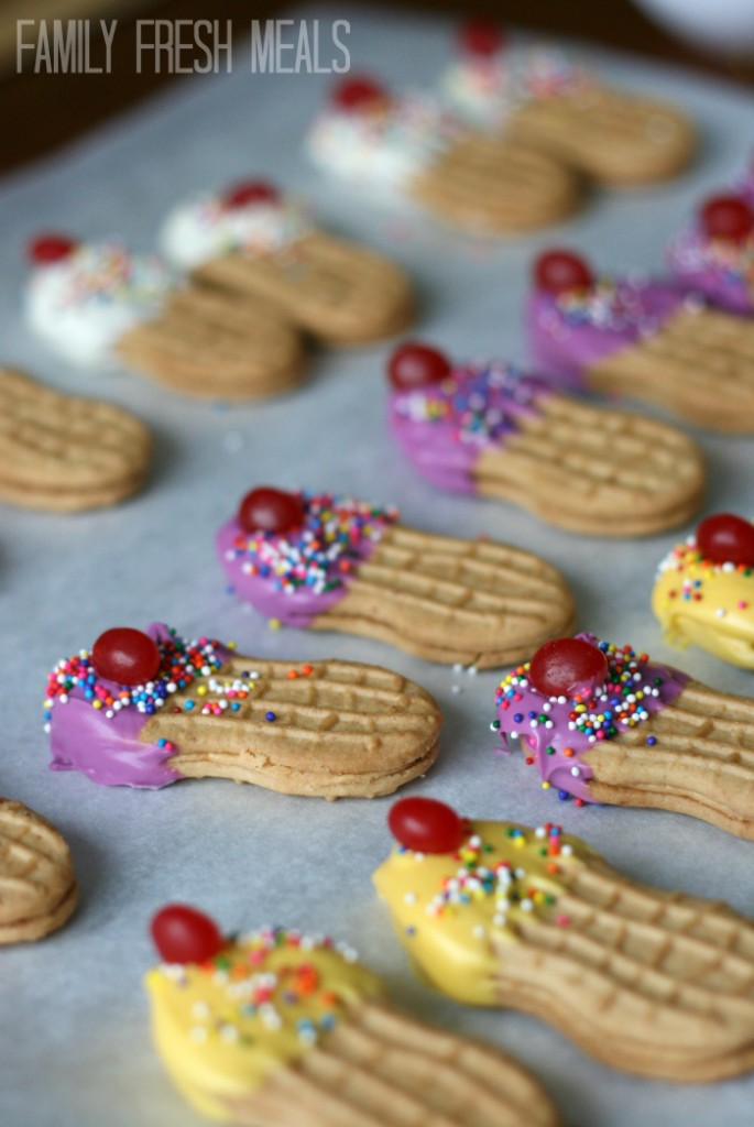 Ice Cream Cone Cookies drying on parchment paper