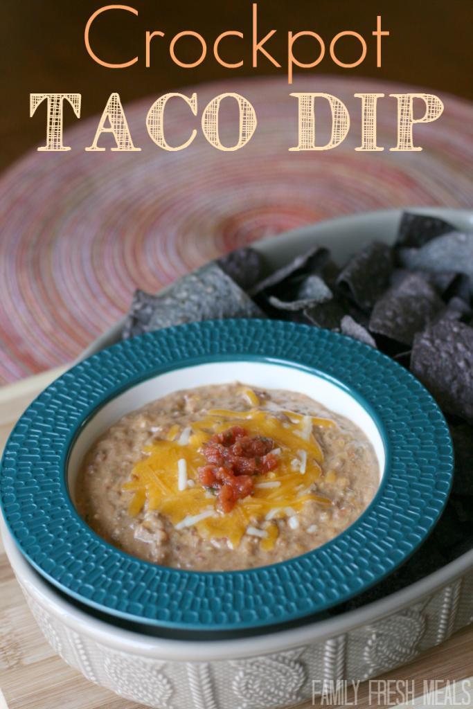 Crockpot Taco Bean Dip - FamilyFreshMeals.com