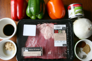 Crockpot Beef Fajitas Ingredients laid out on a table
