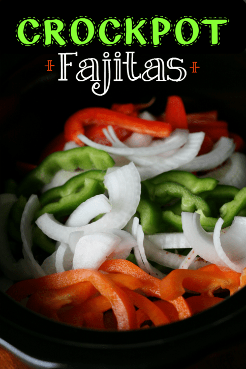 sliced bell pepper and onions in crockpot