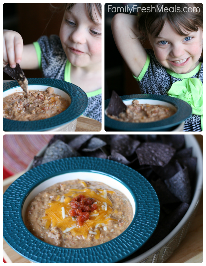 collage image of a child eating the taco bean dip with chips