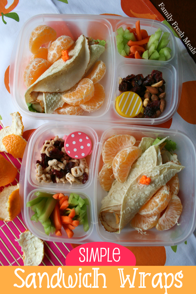 Simple Sandwich Wraps packed in two lunchboxes