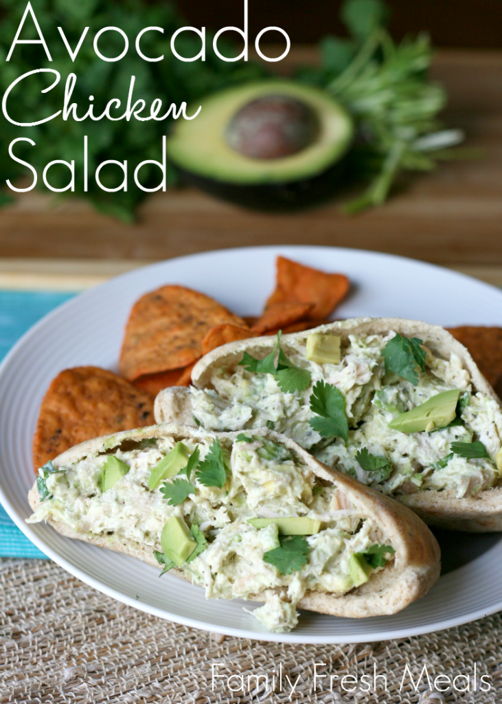 Healthy Avocado Yogurt Chicken Salad Pita - FamilyFreshMeals.com