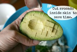 Avocado tip - showing how to cut avocado inside the avocado skin