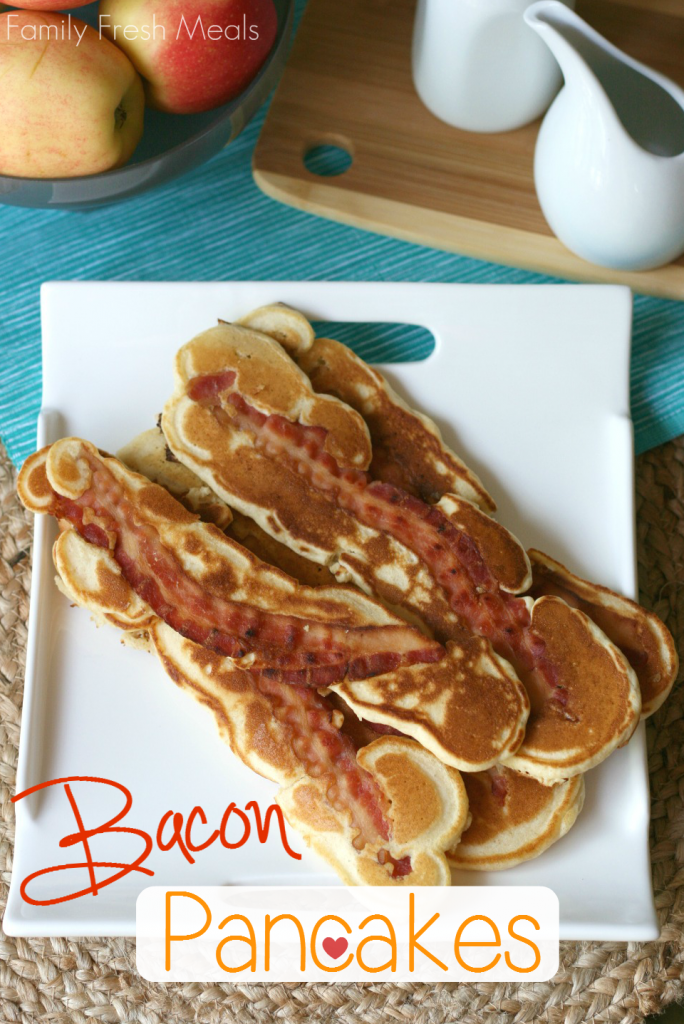 Bacon pancake strips stacked on a white plate
