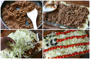 Easy Taco Salad Flag - Show steps to make taco salad. Browning beef, and layering casserole