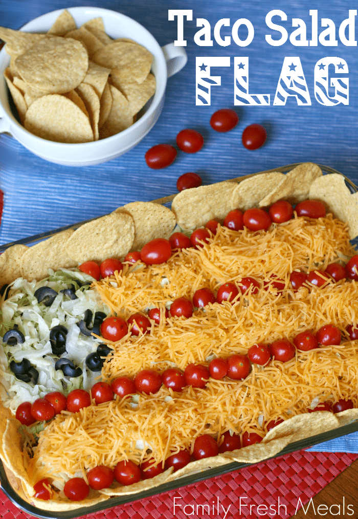 Easy Taco Salad Flag - Super easy! Perfect of Memorial Day or 4th of July!