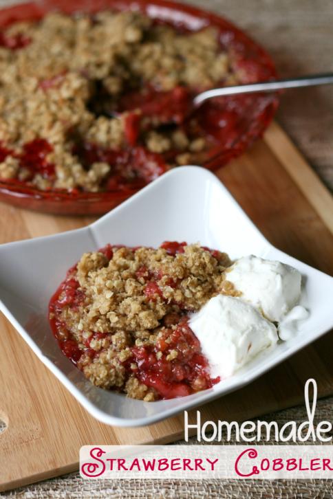 Homemade Strawberry Cobbler - Serve with icecream