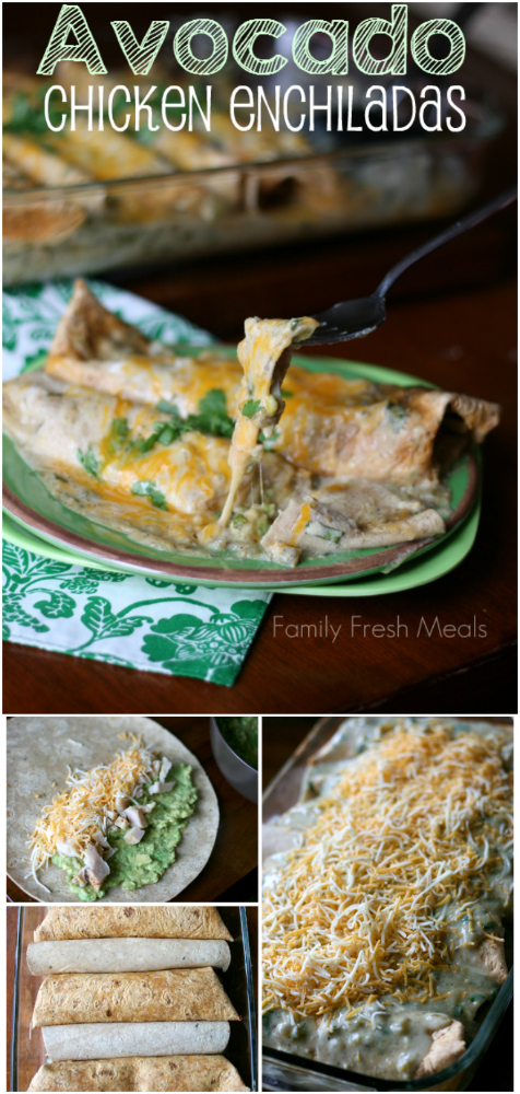 Avocado Chicken Enchiladas - Family Fresh Meals #familyfreshmeals #avocado #chicken #enchiladas #easyrecipe #dinner #avocado via @familyfresh