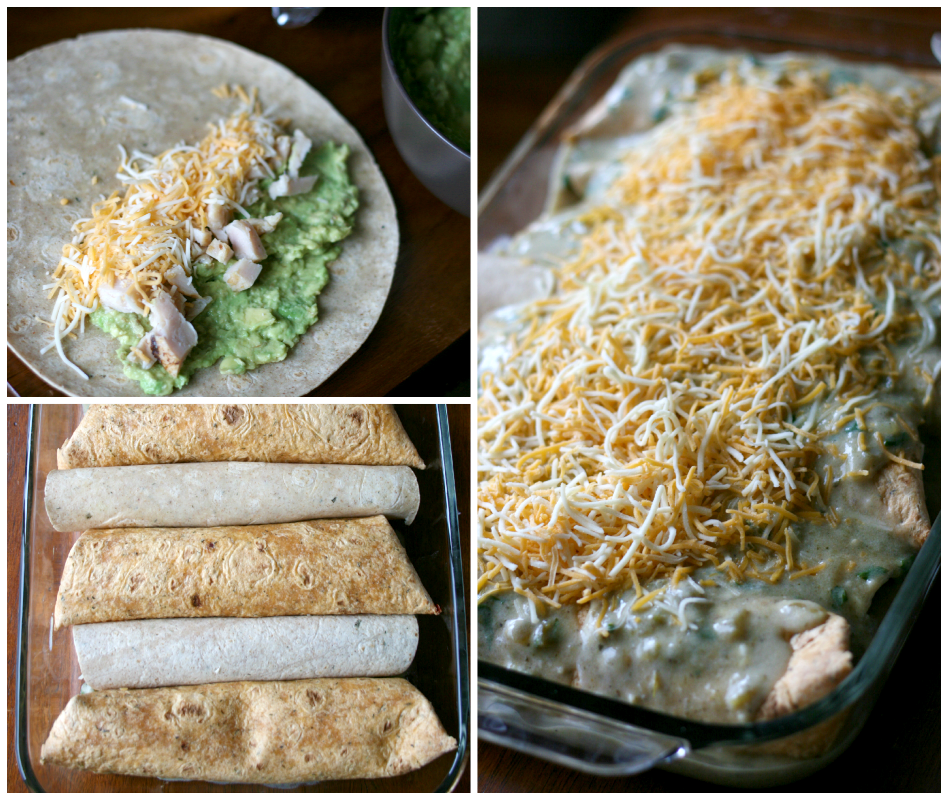 Filling tortillas with chick, cheese and avocados, and placed in baking dish and topped with sauce and shredded cheese