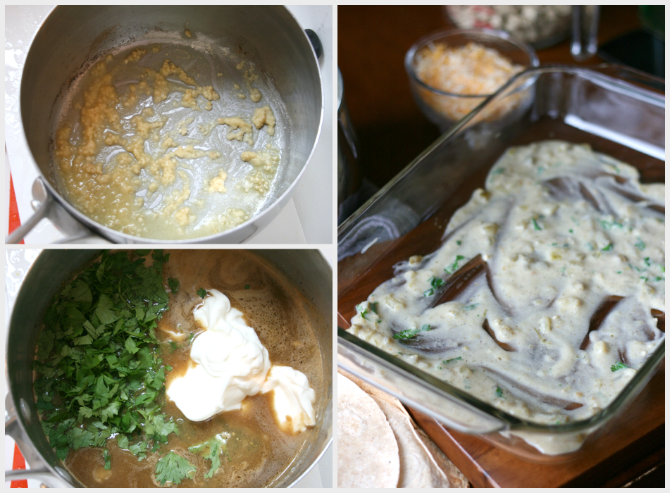 collage image that shows cooking creamy sauce in dutch oven and adding it to bottom of baking dish