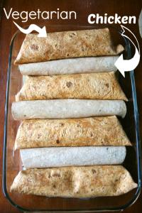 Different tortillas for Vegetarian and Chicken Versions - Avocado Chicken Enchiladas