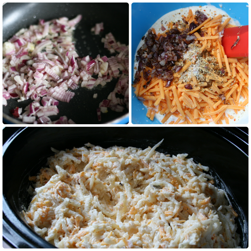 3 images showing steps of recipes. Onions cooking in a pan - onions, cheese, seasoning being mixed into a creamy mixture - bottom image shows cheesy hash brown mixture in a black slow cooker