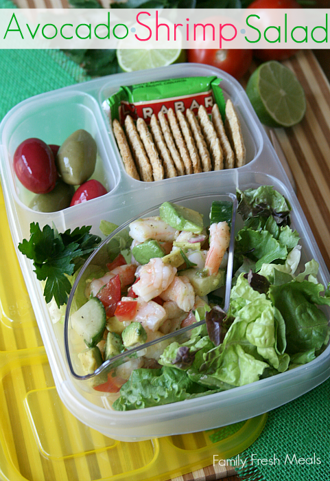 Avocado Shrimp Salad packed in @EasyLunchboxes -- FamilyFreshMeals