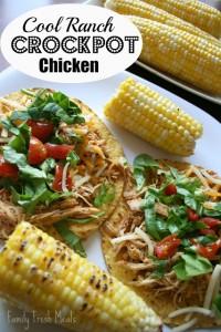 Cool Ranch Crockpot Chicken Tacos or Tostadas - FamilyFreshMeals.com