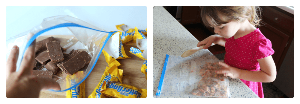 first image is mini butterfinger candy bars in a large ziplock bag. Second picture of a child hitting ziplock bag with a wooden spoon.
