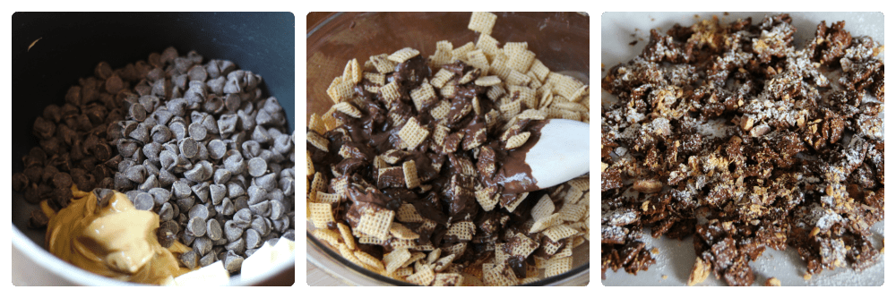 first image of chocolate chips an peanut butter in a sauce pan. middle image if chex cereal mix in a large mixing bowl, with wooden spoon mixing in chocolate mixture. Last image chex mix laid out on parchment paper