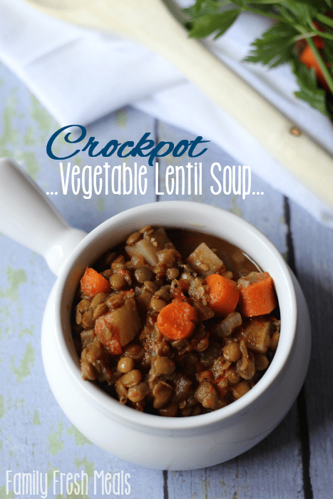 Easy crockpot vegetable lentil soup recipe family fresh for Healthy vegetarian crock pot recipes easy