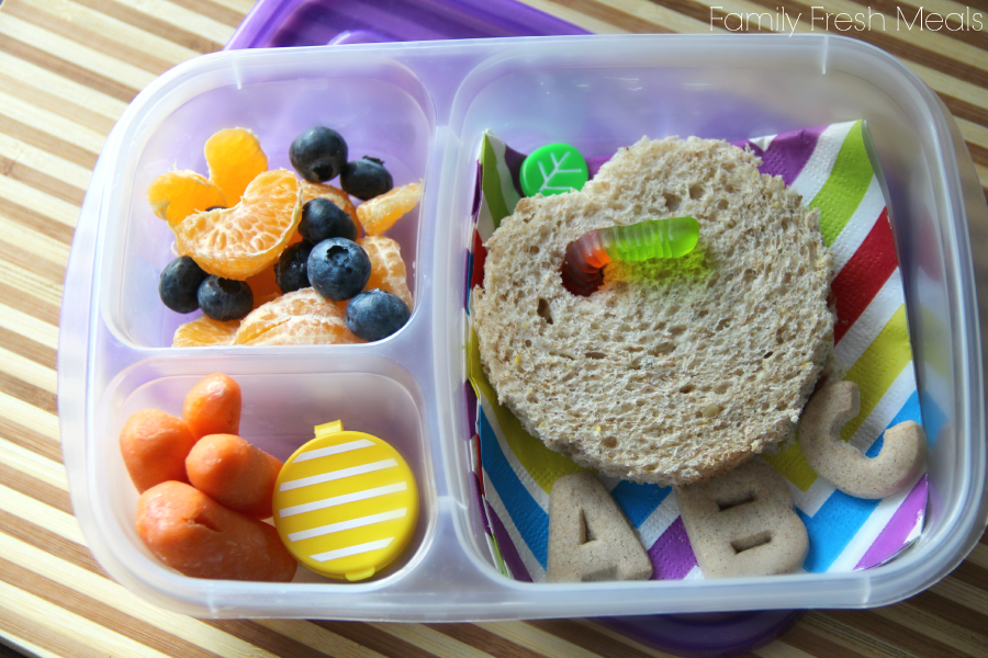 back to school themed packed lunchbox