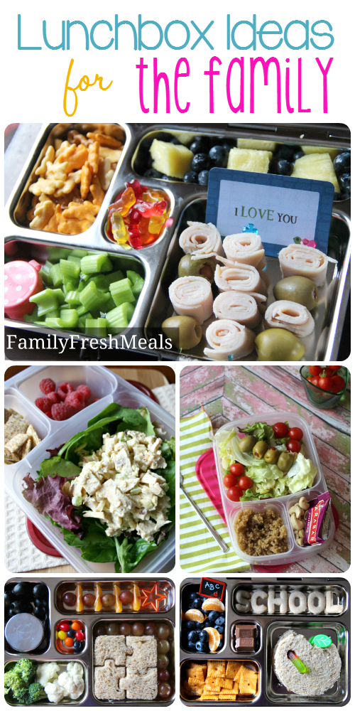 Collage image of 5 different packed lunchbox ideas