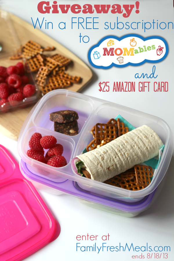 Back to School Lunch Meal Plans with MOMables. MOMables back to school giveaway - FamilyFreshMeals.com