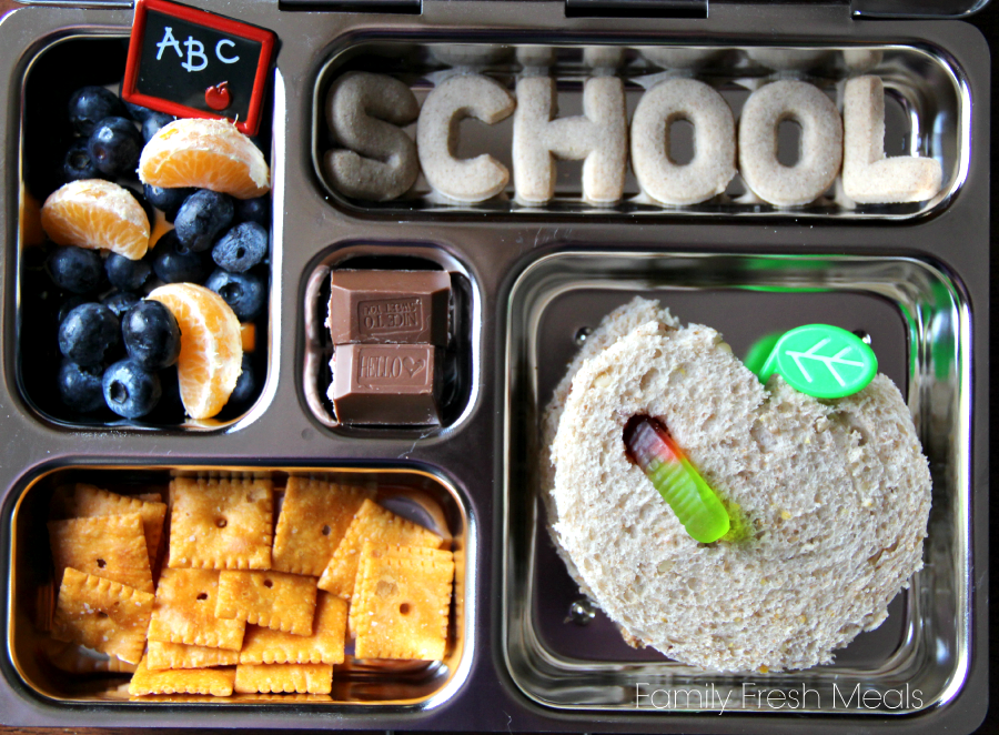 top down image of packed metal lunchbox
