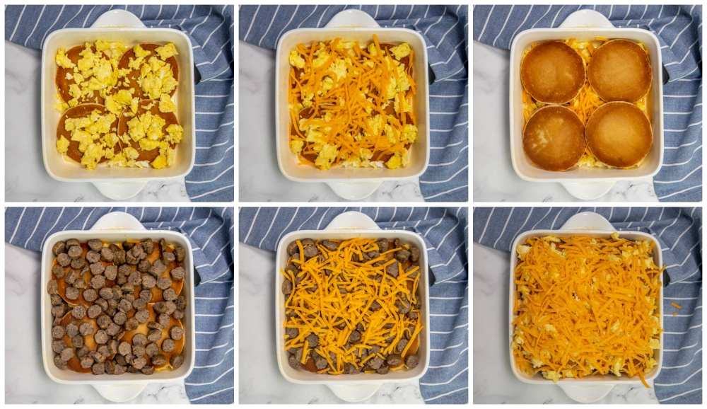 Collage image Showing how to layer the breakfast casserole