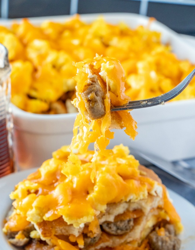 piece of casserole on fork