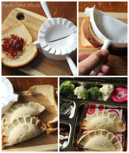 collage image of 4 steps to make pbj dumpling sandwich - with a dumpling press.