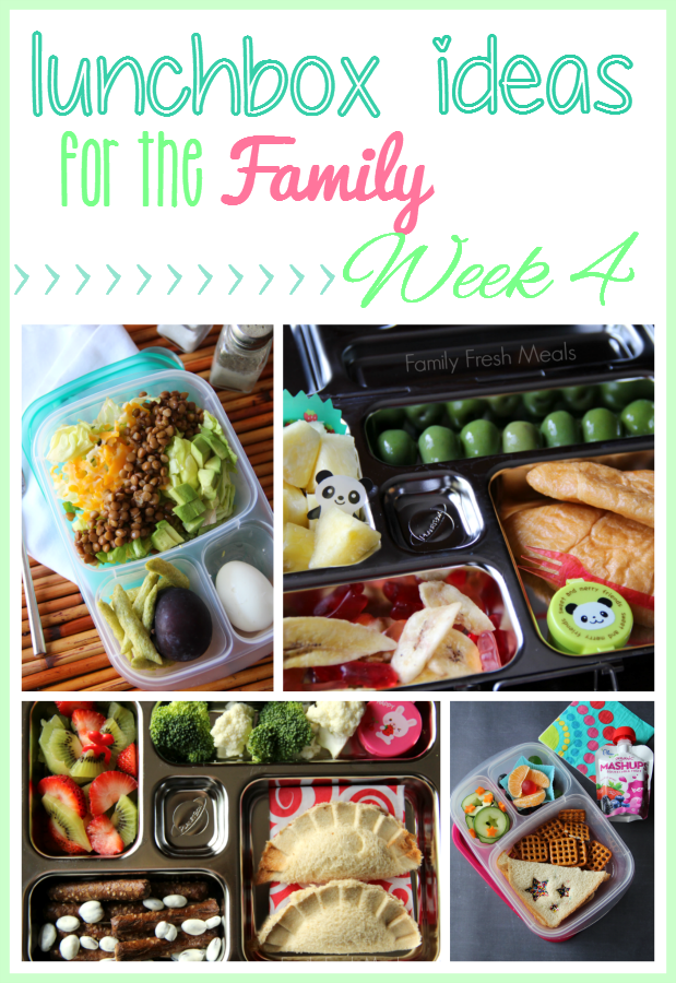 Collage image of 4 lunchbox ideas