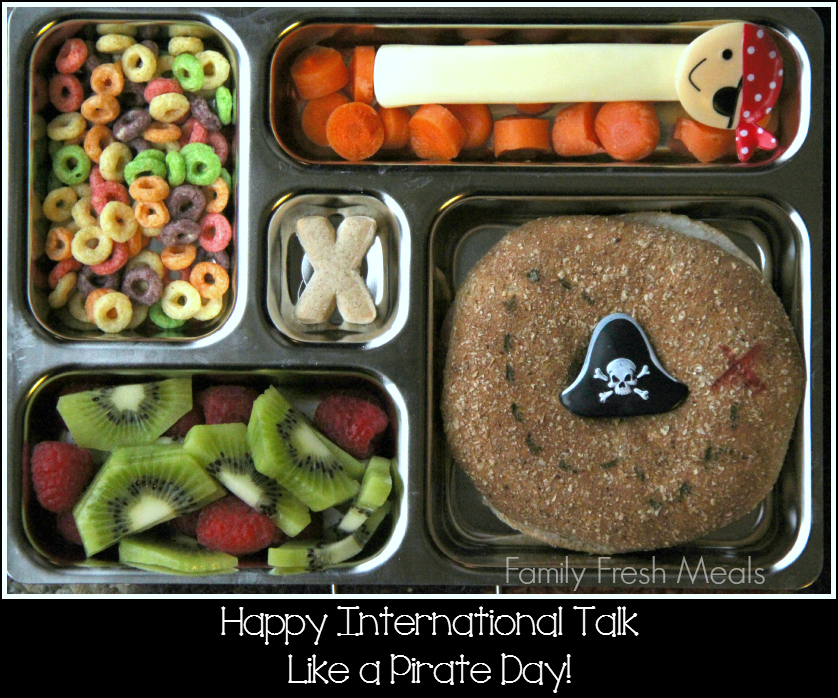 top down image of a pirate themed lunchbox