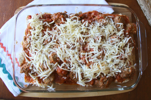 Top down image of Meatball sub casserole, uncooked